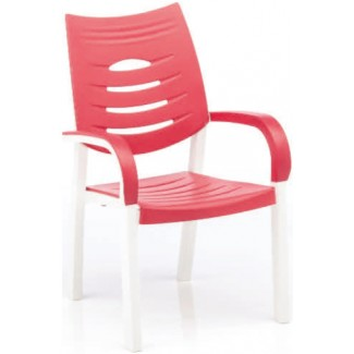 Happy Solid Polymer Resin Arm Chair - White/Coral