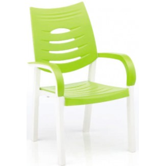 Happy Solid Polymer Resin Arm Chair - White/Lime