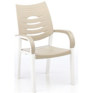 Happy Solid Polymer Resin Arm Chair - White/Sand