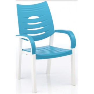 Happy Solid Polymer Resin Arm Chair - White/Turquoise