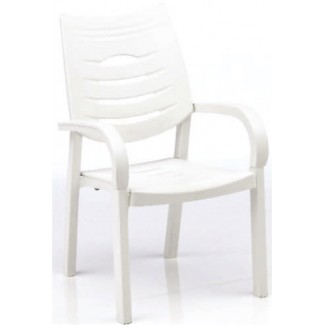 Happy Solid Polymer Resin Arm Chair - White/White