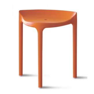 Happy Stackable Backless Bar Stool in Orange