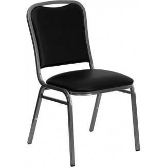 Curved Banquet Chair with Black Vinyl and Silver Vein Frame