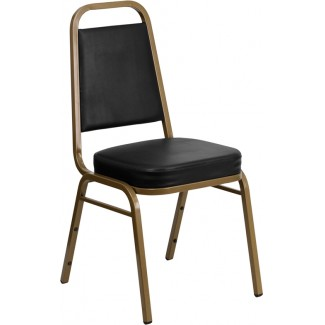 Basic Banquet Chair with Black Vinyl and Gold Frame