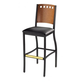 Hoffman Bar Stool with Upholstered Seat and Wood Back 825
