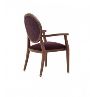 Holsag Paris Stacking Wood-Grain Metal Hospitality Arm Chair - Back View