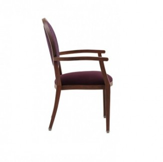 Holsag Paris Stacking Wood-Grain Metal Hospitality Arm Chair - Side View