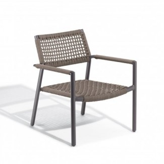 Hospitality Restauarant Del Campo Eiland Aluminum Rope Weave Lounge Arm Chair