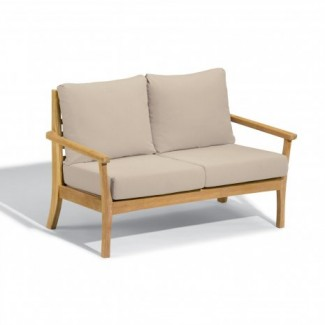 Hospitality Restauarant Hotel Chelsea Teak Mera Upholstered Outdoor Deep Seating Love Seat