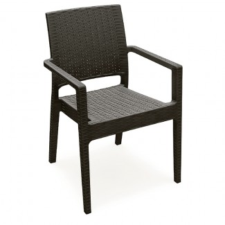 Ibiza Stacking Resin Arm Chair - Brown
