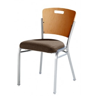 Impilato Steel Stacking Side Chair with Wood Back and Handgrip 12-SIX-WHH