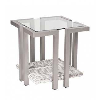 Imprint End Table With Glass Top