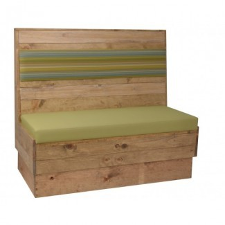 Upholstered Back Natural Wood Industrial Booth Seating