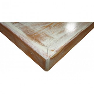 "30"" Square Distressed Wood Plank Table Top"