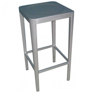 Italian Wrought Iron Restaurant Bar Stools Anna Backless Bar Stool - Aluminum Collection