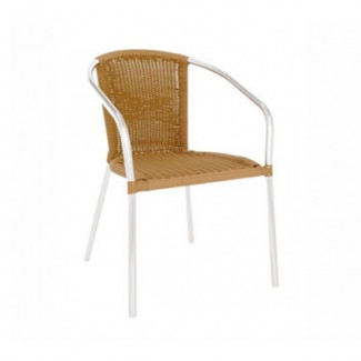 Laura Aluminum Stacking Arm Chair