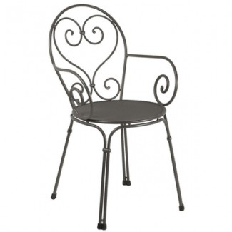 Italian Wrought Iron Restaurant Chairs Pigalle Arm Chair