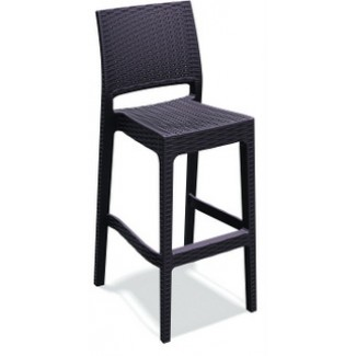 Jamaica Stacking Wicker Weave Resin Bar Stool - Brown