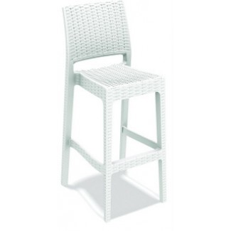 Jamaica Stacking Wicker Weave Resin Bar Stool - White