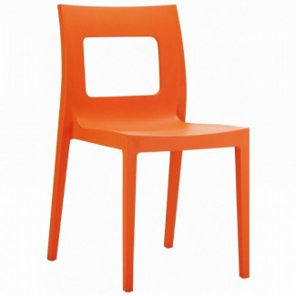 Lucca Stacking Restaurant Side Chair in White