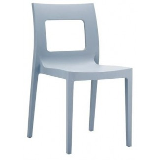 Lucca Stacking Resin Side Chair - Silver Grey