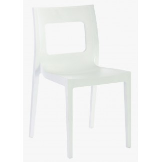 Lucca Stacking Resin Side Chair - White