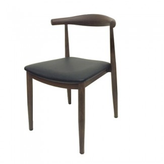 Wood-Grain Metal Elbow Side Chair