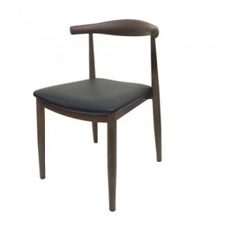 Elbow Wood Grain Metal Side Chair