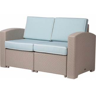 Magnolia Resin Wicker Modular Hospitality Loveseat with Cushions