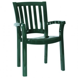 Malibu Stacking Resin Arm Chair - Green