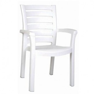 Marina Stacking Restaurant Arm Chair in White