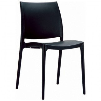 Maya Stacking Resin Side Chair - Black