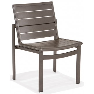 Meza Nesting Dining Chair Aluminum Slat Seat Without Arms