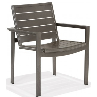 Meza Nesting Dining Chair Aluminum Slat Seat with Arms