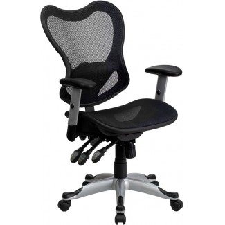 Mid Back Black Mesh Chair with Triple Paddle Control