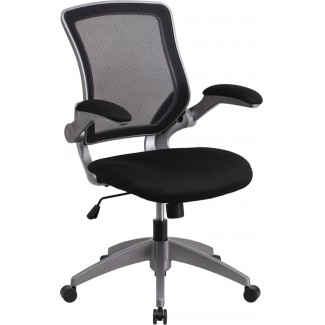 Mid Back Black Mesh Task Chair with Flip Up Arms