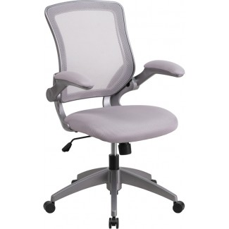 Mid Back Grey Mesh Task Chair with Flip Up Arms