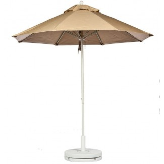 Commercial Restaurant Umbrellas 11 Foot Fiberglass Market Umbrella With Aluminum Pole - Pulley Lift