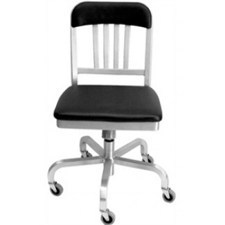 Navy Aluminum Semi-Upholstered Swivel Chair with Casters