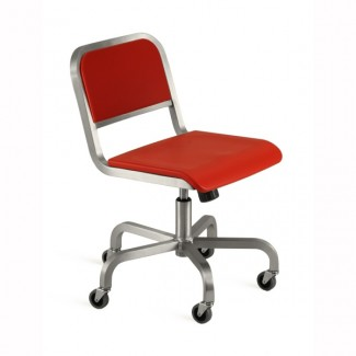 Nine-0 Aluminum Non-Stacking Soft Back Swivel Chair with Casters