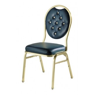 Omega I Steel Stacking Side Chair with Button Tufting 569BT