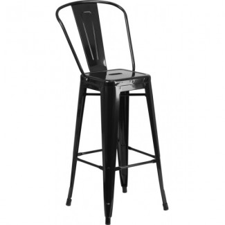 Tolix Style Restaurant Bar Stool in Black
