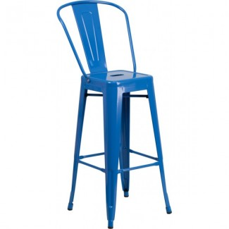 Tolix Style Restaurant Bar Stool in Blue