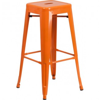 Tolix Style Restaurant Bar Stool in Orange