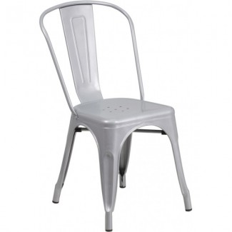 Tolix Style Restaurant Side Chair in Grey