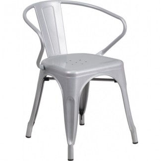 Tolix Style Restaurant Arm Chair in Grey