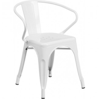 Tolix Style Restaurant Arm Chair in White