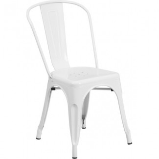 Tolix Style Restaurant Chair in White
