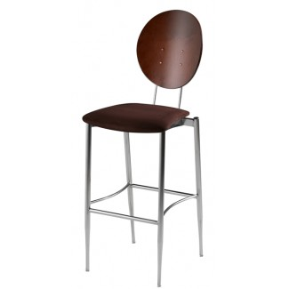 Oval Bar Stool with Upholstered Seat and Wood Back