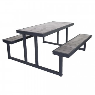 PH5927GRSG-Aegean Aluminum and Wood Composite Outdoor Commercial Bar Patio Restaurant Picnic Table Bench
